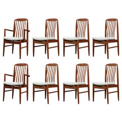 Set of Eight Modern Danish Solid Teak Dining Chairs by Benny Linden