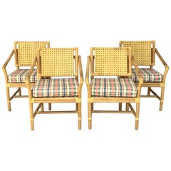 Leather and Rattan Bamboo Dining Armchairs in the Manner of Brown Jordan