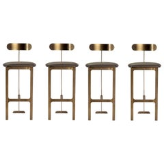 4 Contemporary Sleek Bar Stools; Grey Faux Leather/ Antique Bronze.
