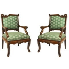 Pair of Viotdot English Regency Chinoiserie Mahogany Green Upholstered Armchairs