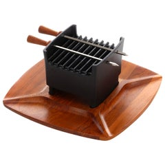 Table Grill 1960s Teak and Cast Iron Set by Digsmed, Unused and in Original Box
