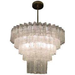 Rare Crystallized Sugar Style Murano Glass Chandelier by Seguso