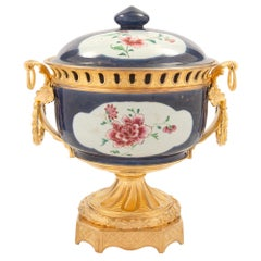 Chinese Porcelain and French 19th Century Louis XVI Style Ormolu Centerpiece