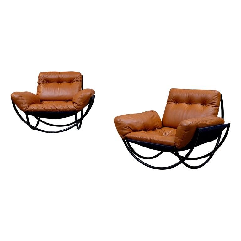 Rare Pair of Lennart Bender Easy Chairs, 1960s For Sale