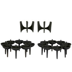 Dansk Black Iron Design with Light Series Candleholders, Borje Rajalin Two Pair