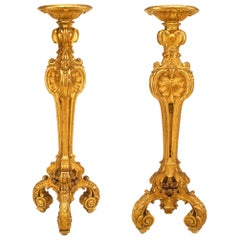 Pair of French Louis XV Style Large Gilt Triple Scroll Leg Pedestals