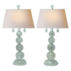Pair of Modern Style Rock Crystal Smooth Ball Lamps