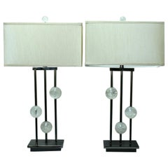 Pair of Modern Style Rock Crystal Lamps