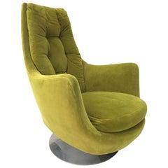 Milo Baughman Thayer Coggin Plush Mod Swivel Lounge Chair