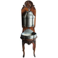 Louis XV Lavabo Wall Fountain Pewter with Original Basin, circa 1700s