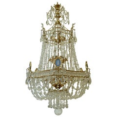 Gilt Bronze and Crystal Chandelier with Wedgwood Mounts by E. F. Caldwell