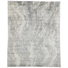 New Contemporary Gray Area Rug with Grunge Art Style