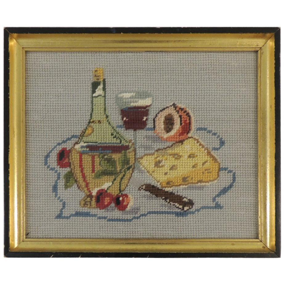 """Vintage Framed Tapestry Depicting """"Bodegon"""" on Black and Gold Frame"""