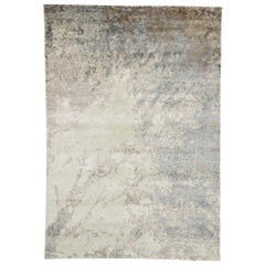 New Contemporary Rug with Expressionist Grunge Art Style and Neutral Colors