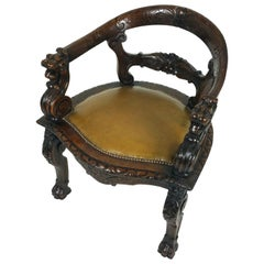 Mid-Victorian Carved Oak Tub Shaped Desk Chair