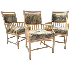 McGuire Rattan Accent Armchairs, Set of Three