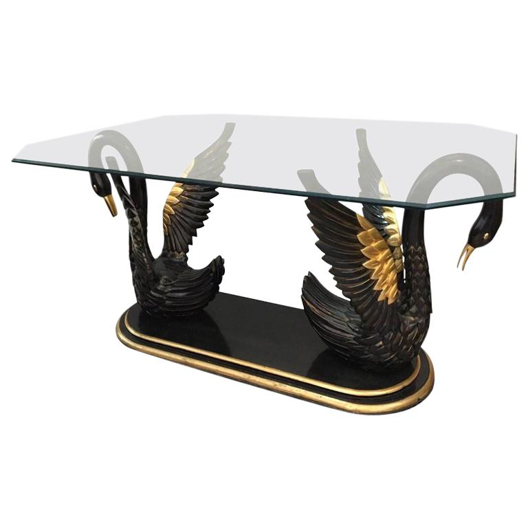sculptural black swan statue dining table for sale at 1stdibs rh 1stdibs com swan base dining table ercol swan dining table and chairs