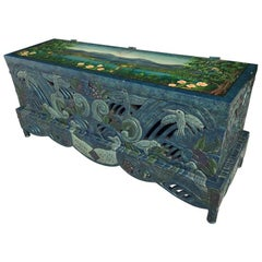 Hand Painted Carved Chinoiserie Trunk