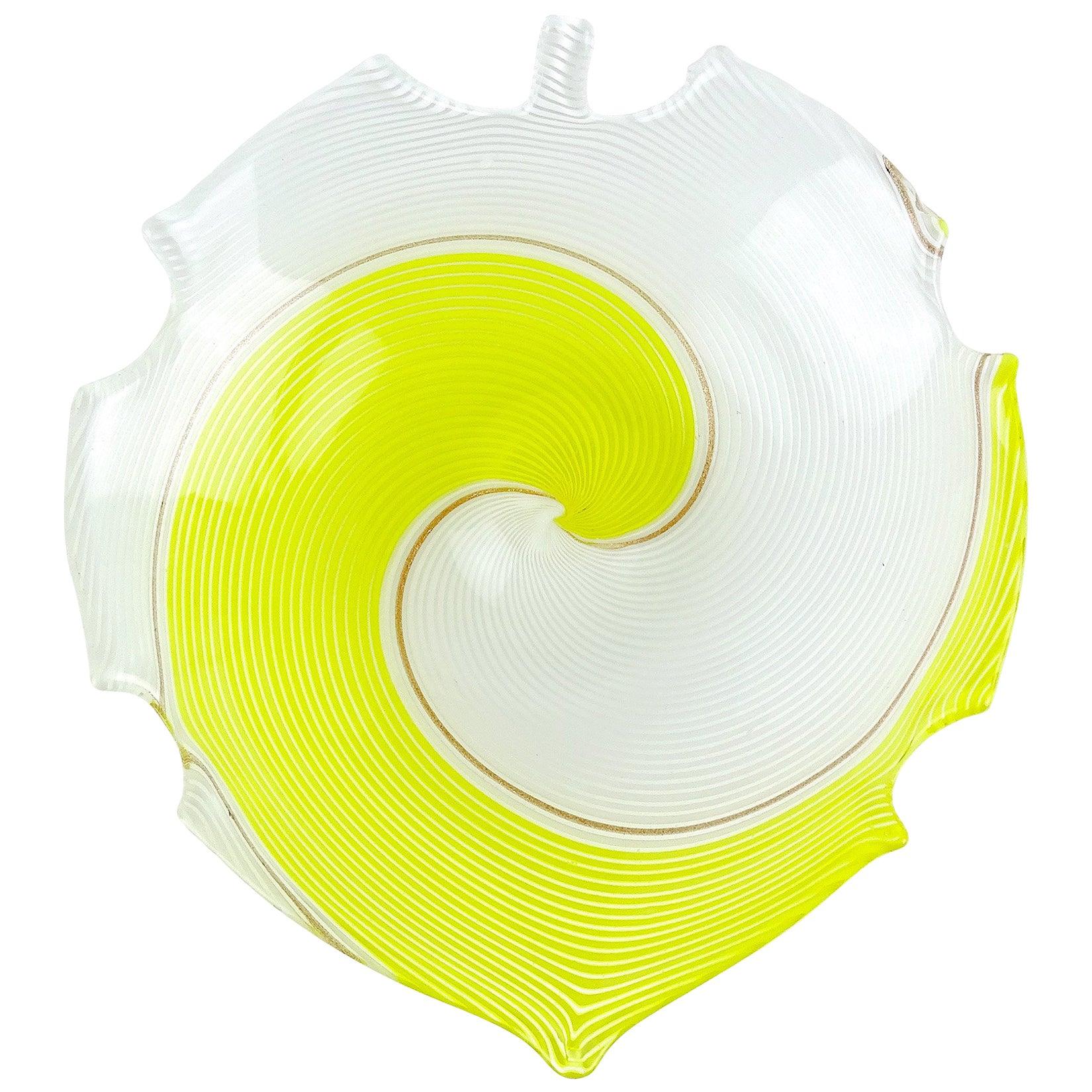 Dino Martens Aureliano Toso Murano Yellow White Ribbons Italian Art Glass Bowl