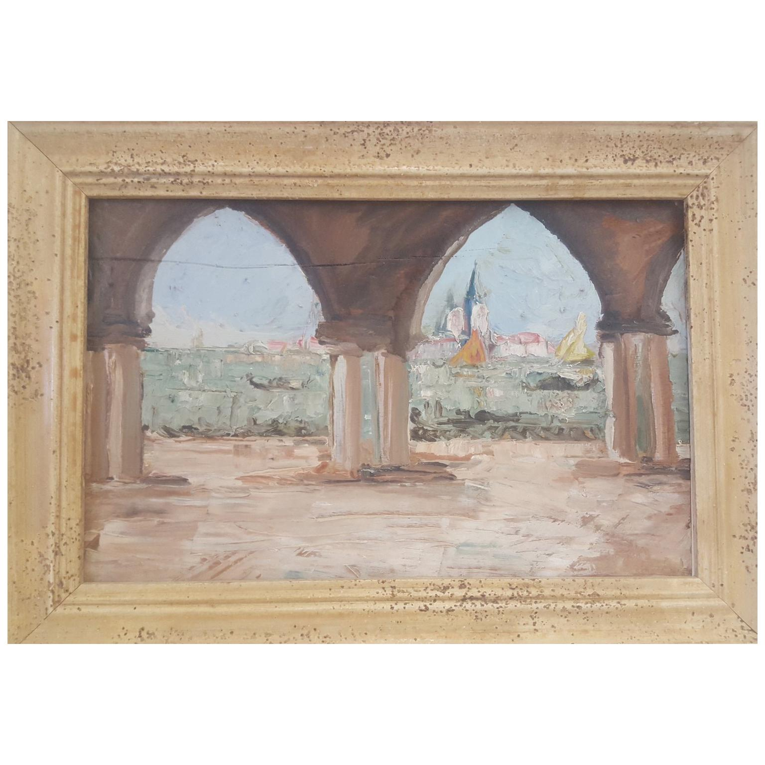 20th Century Oil Painting on Wood Board of Venice, Italy, Signed on the Reverse