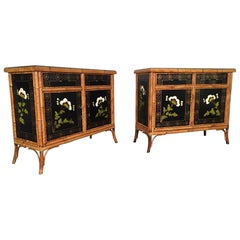 Pair of Asian Hand Painted Bamboo Cabinets, circa 1950s