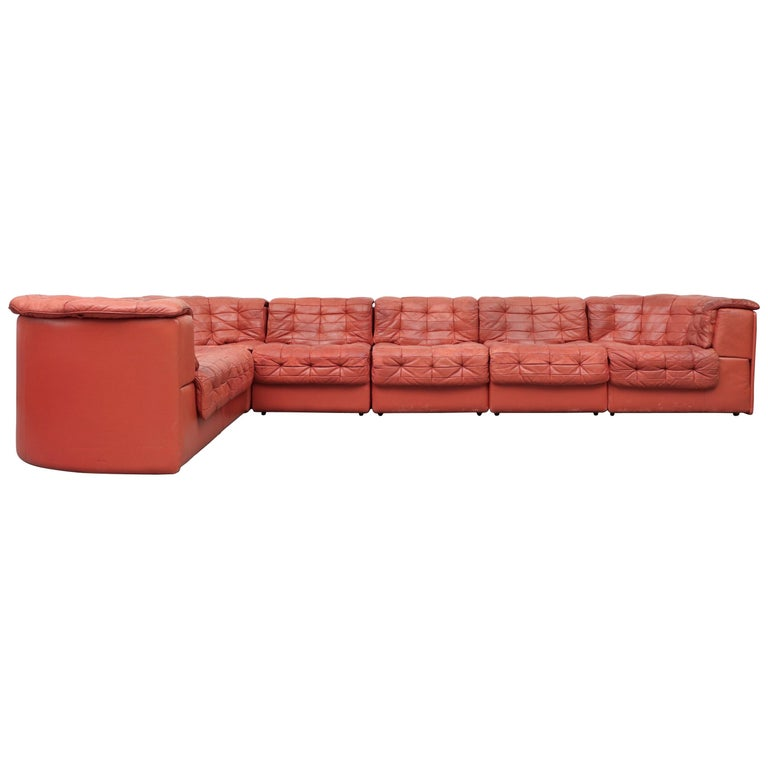 De Sede DS 11 Terracotta Leather Sectional Sofa For Sale