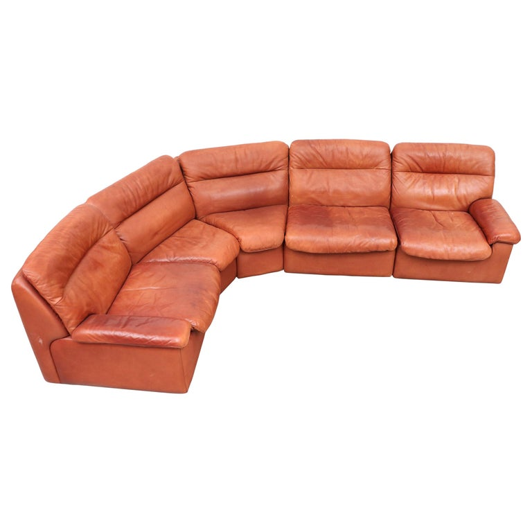 Handsome De Sede Ds 66 5 Piece Cognac Leather Sectional