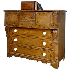 Canadiana Pine Chest of Drawers in Original Folk Art Stencil, circa 1870