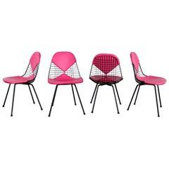 4 DKX-2 Wire Bikini Shell Chairs X Bases Hot Pink Bikinis Eames Herman Miller