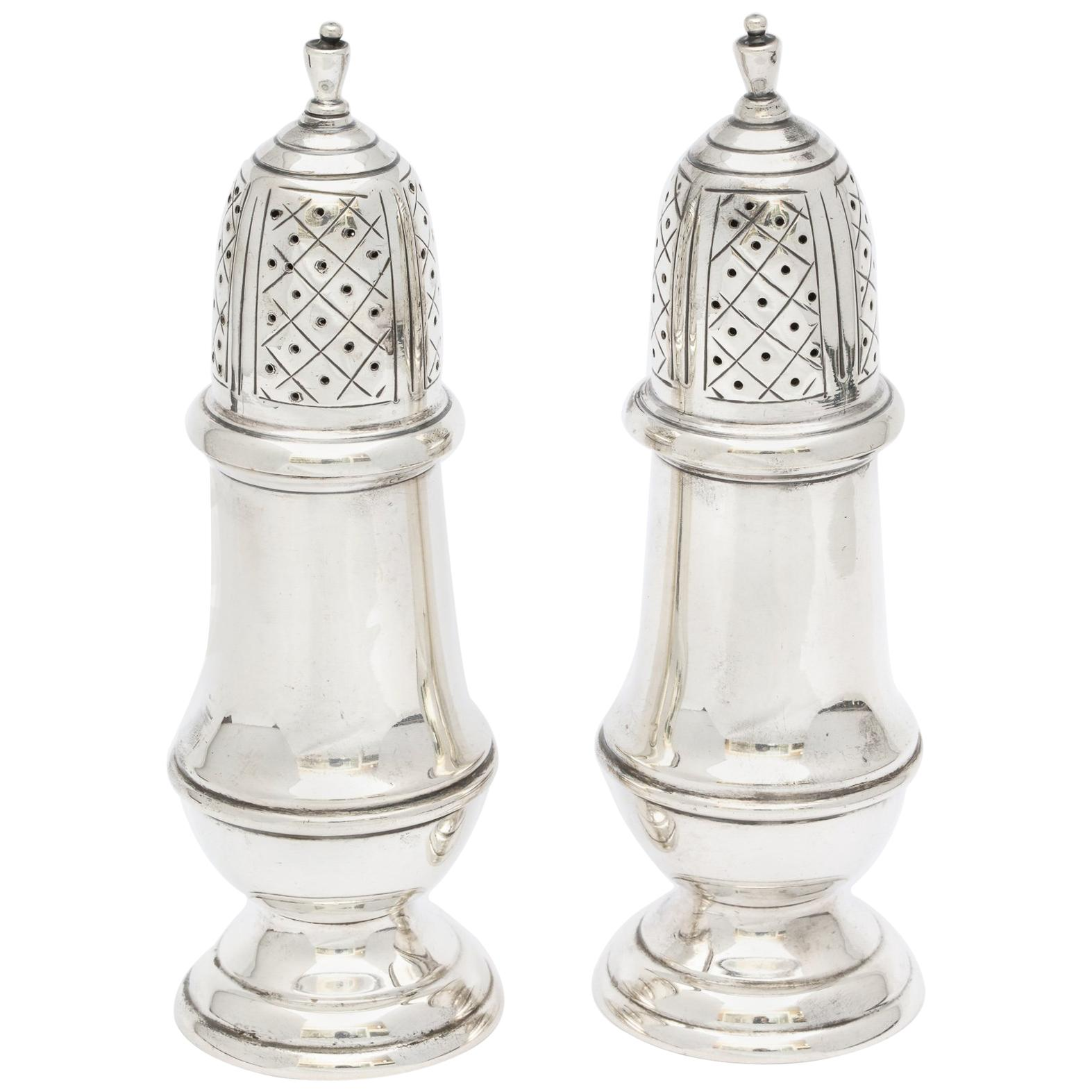 Pair of Sterling Silver American Colonial, Style Salt and Pepper Shaker/Casters
