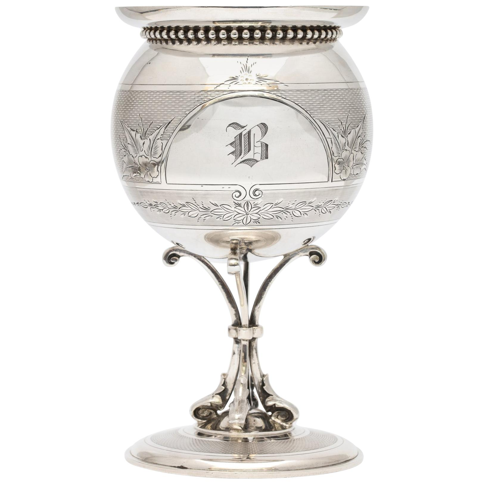 American, Neoclassical Coin Silver Vase by Gorham