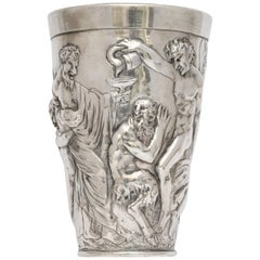 Hanau Continental Silver '.800' Beaker Decorated with Bacchanalian Scene