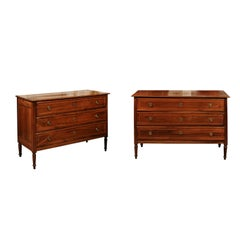 Pair of Italian Neoclassical Style Inlaid Walnut Commodes, 19th Century