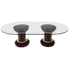 Large Oval Glass Top Two Round Turned Mahogany Pedestal Bases Dining Table