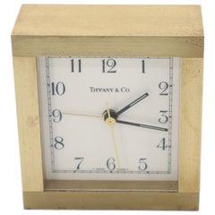 Heavy Tiffany Machined Bronze or Brass Square Mantel Desk Clock