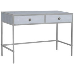Shagreen and Polished Stainless Steel Desk