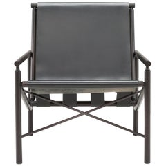 Amura 'Ease' Chair in Dark Wood and Charcoal Leather by Gareth Neal