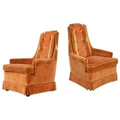 1960er Jahre, original gelb, Orange, Samt, getuftet, hohe Lehne, Lounge-Stuhl Set von McAfee