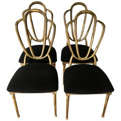Four Midcentury Gold Dining Chairs