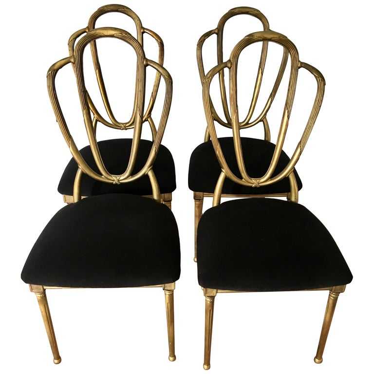 Four Midcentury Gold Dining Chairs For Sale