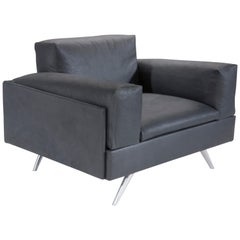 Amura 'AL' Armchair in Black Leather by Luca Scacchetti