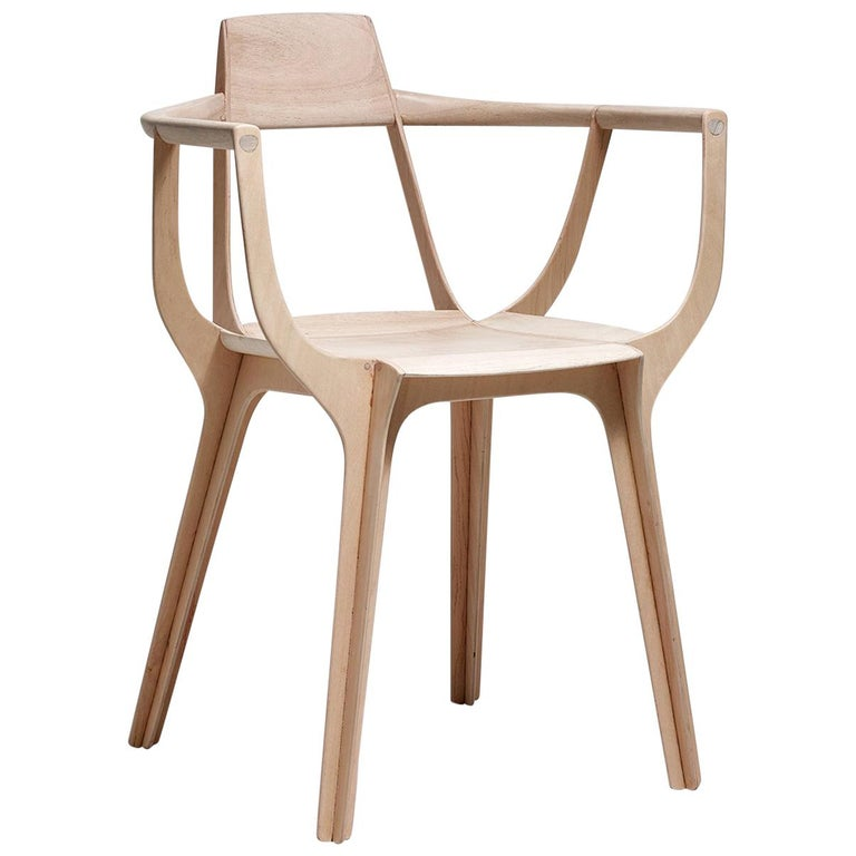 Eutopia Armchair in Kiri Wood by Francisco Gomez Paz For Sale