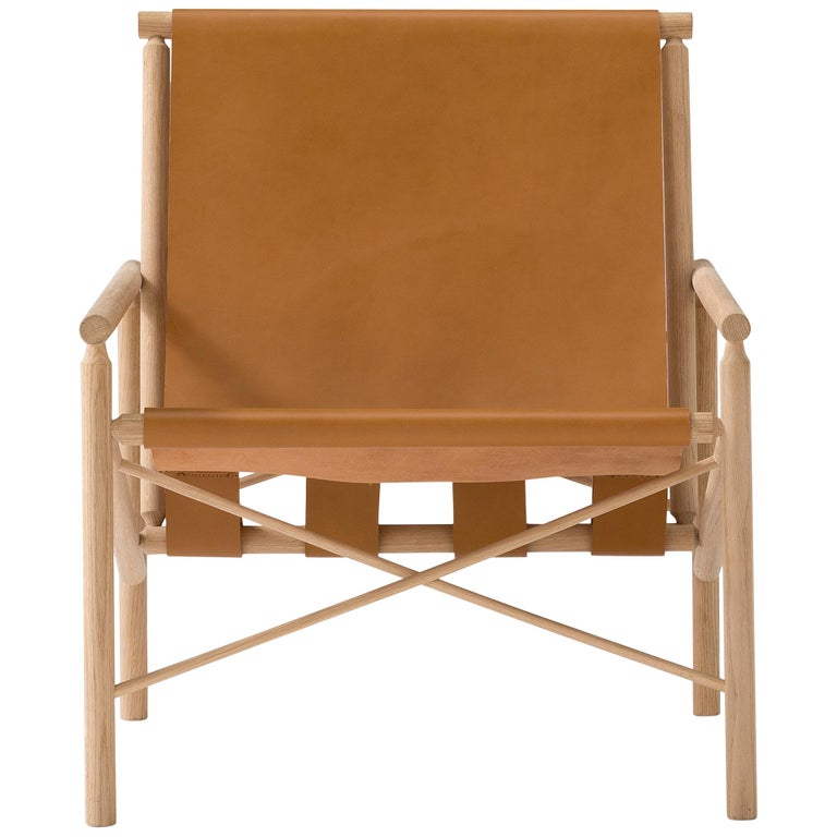Amura 'Ease' Chair in Light Brown Leather by Gareth Neal For Sale