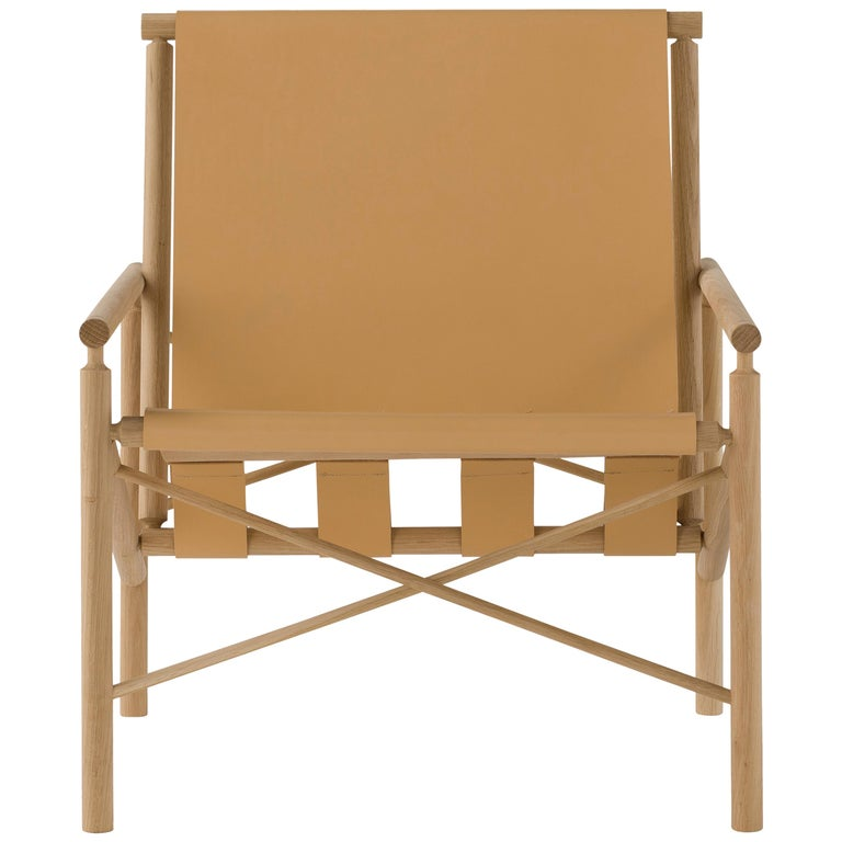 Amura 'Ease' Chair in Light Tan Leather by Gareth Neal For Sale