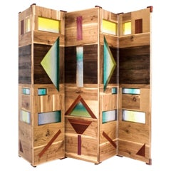 'Light Tropics' Wood Screen with Mutlicolor Murano Glass by Hillsideout
