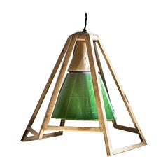 'Liquid' Green Kuken Pendant Light with Wood Frame by Hillsideout