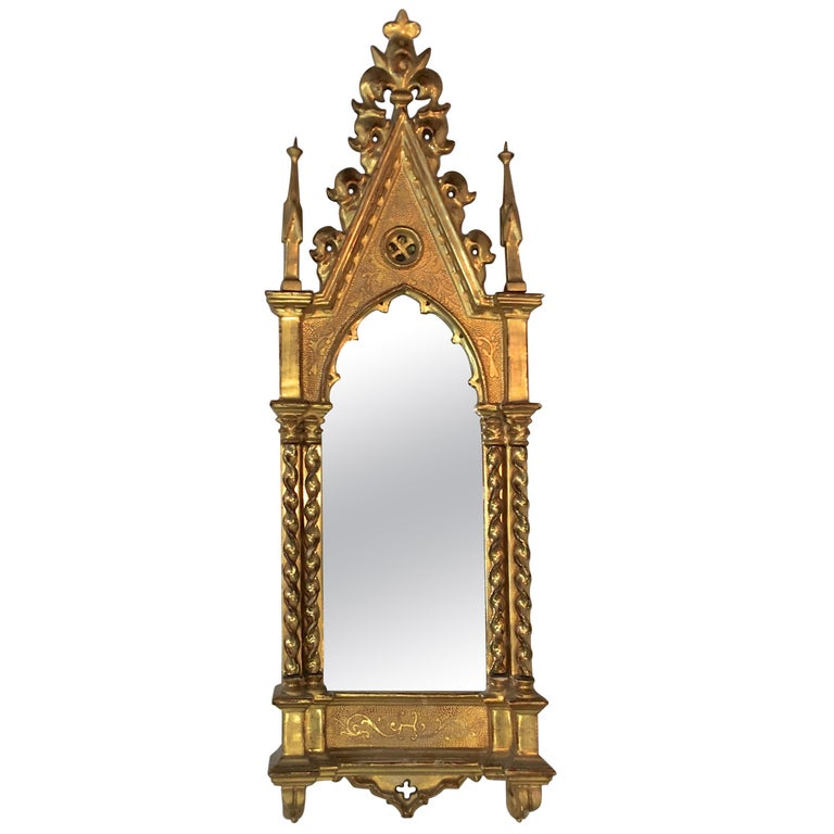 Giltwood Grand Tour Framed Gothic Mirror For Sale