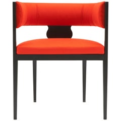 Amura 'Lira' Armchair in Red-Orange with Wooden Frame