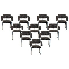 1970s Set of Ten Chromed Steel Armchairs