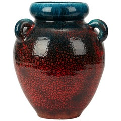 Accolay French Large Turquoise & Red Glazed Handled Vase, circa 1950
